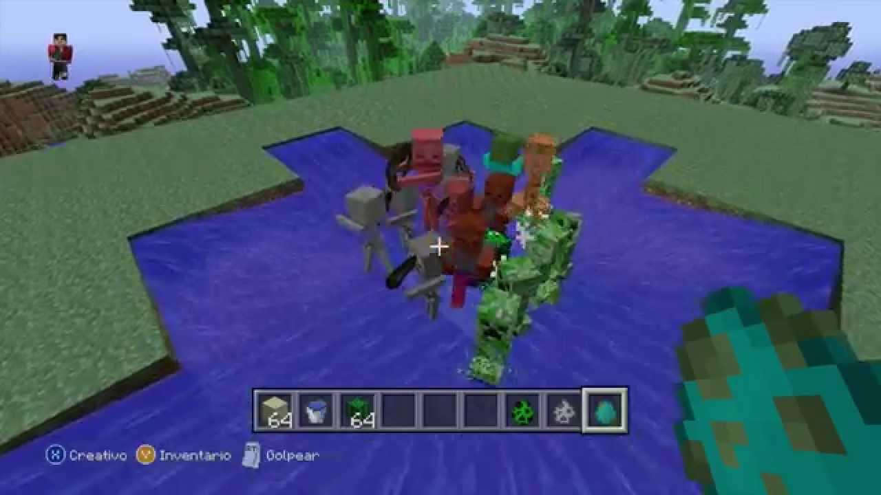 Minecraft Xbox 360 Ps3 Tutorial Como Hacer Una Trampa Para Mobs Creeper Zombie Skeleton Youtube