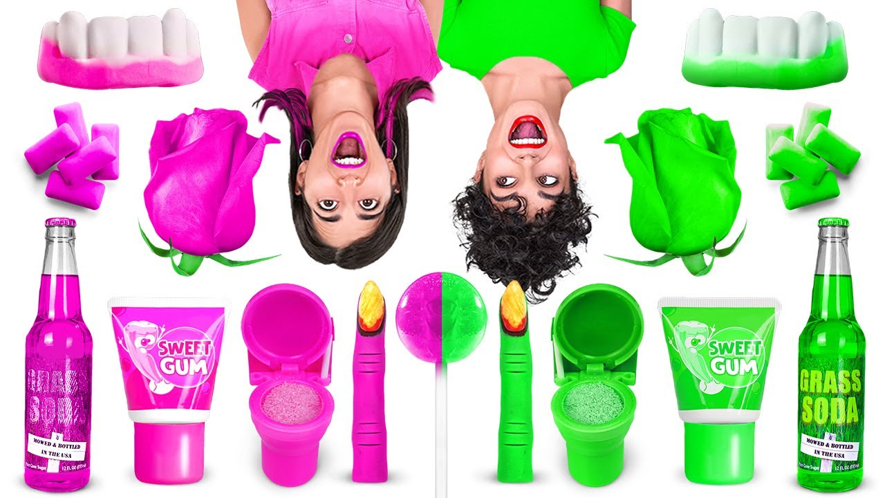 PINK VS GREEN COLOR CHALLENGE || Eating Only 1 Color Food For 24 HRS! Mukbang by 123 GO! CHALLENGE