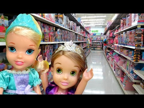 TOY HUNT with ELSA and Rapunzel toddlers ! Lots of toys and dolls ! Playing , singing