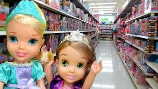 TOY HUNT with ELSA and Rapunzel toddlers ! Lots of toys and dolls ! Playing , singing(This toys dolls parody video shows ELSA and Rapunzel toddlers going TOY HUNTING at Walmart ! What cute toys will they see at the toy store? They explore ..., 2017-01-28T15:31:10.000Z)