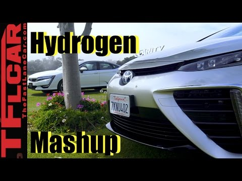 2017 Honda Clarity vs Toyota Mirai Hydrogen Car Mashup Review