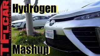 2017 Honda Clarity vs Toyota Mirai Hydrogen Car Mashup Review