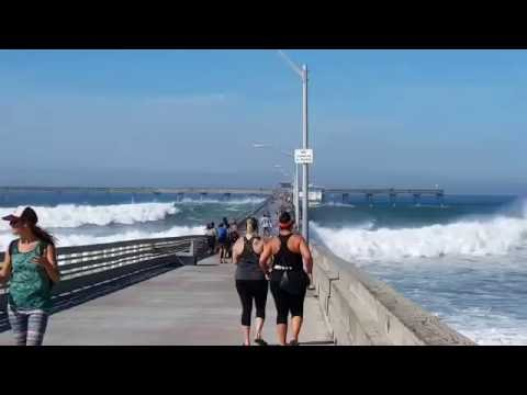 Ocean Beach Pier in San Diego - Nov. 4, 2016. Big surf closes the pier.