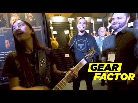 Mark Tremonti + BTBAM's Dustie Waring Surprise Shredder Keona Lee at NAMM