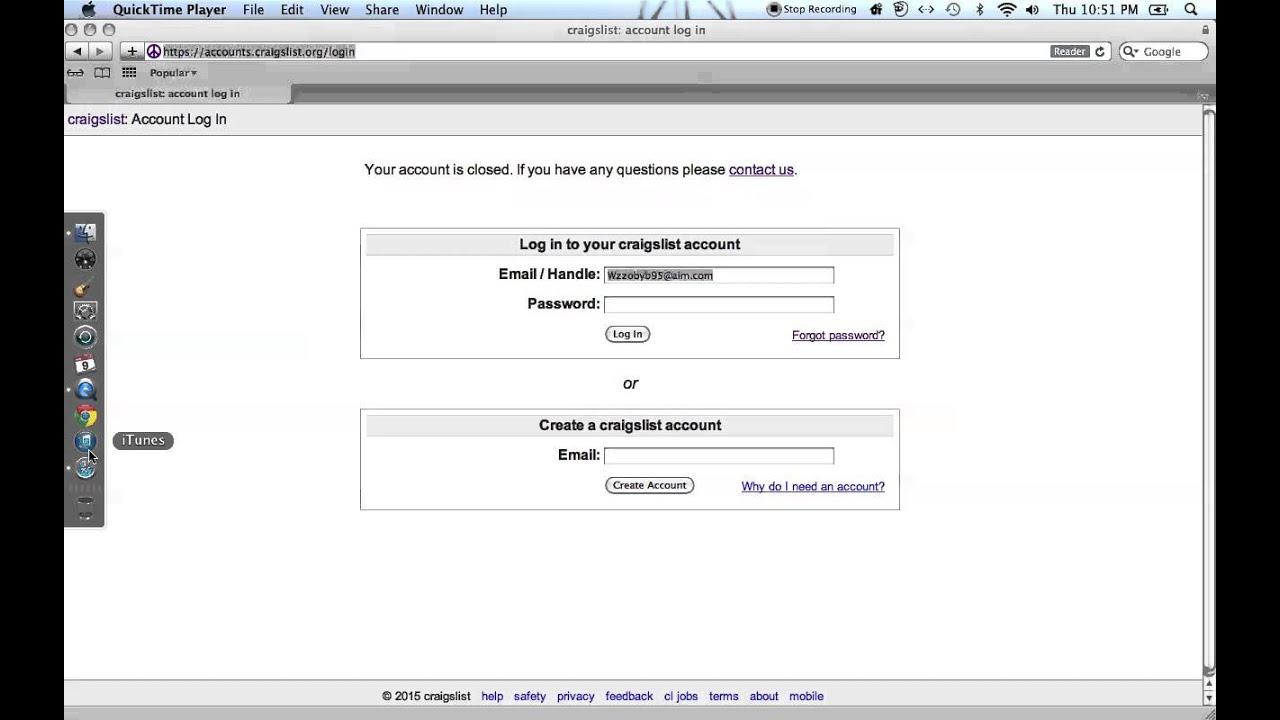 Craigslist Account Closed - YouTube