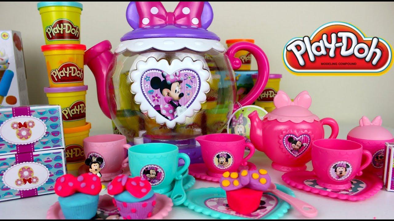 playdoh juego de te de minnie mouse cocinita de juguete para nias youtube