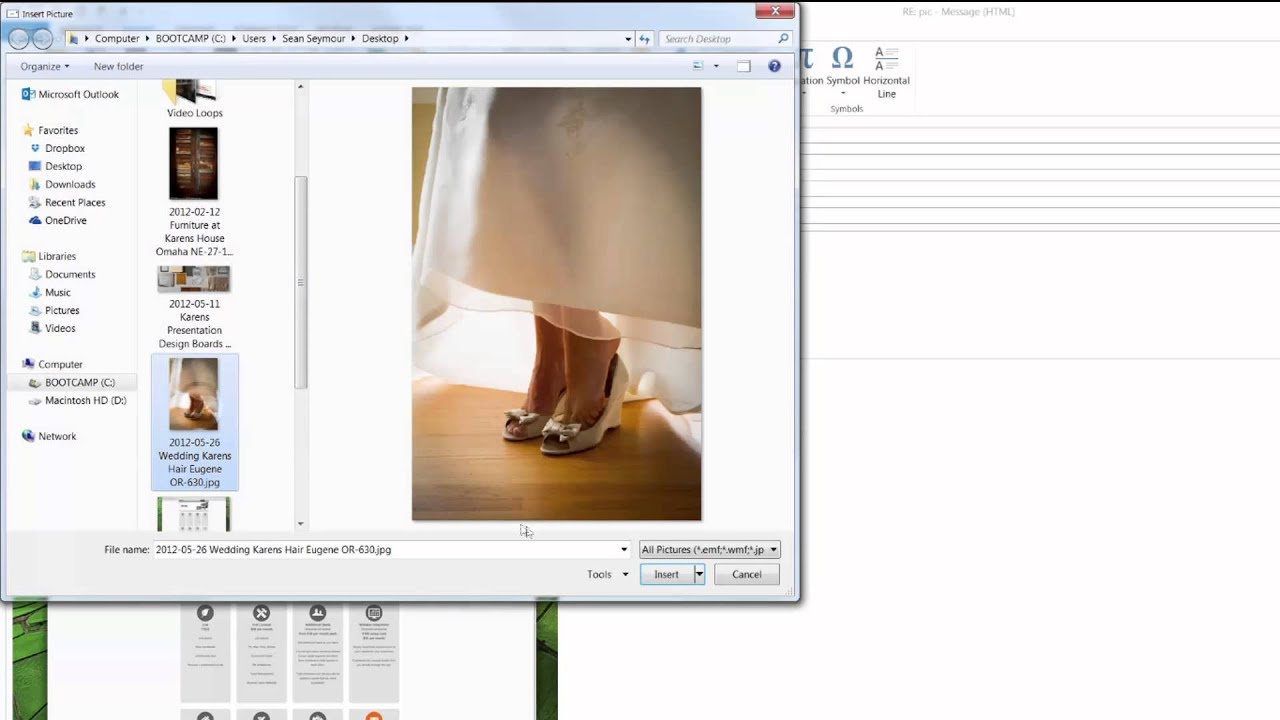 How To Insert A Picture Into E Mail With Outlook 2013 Youtube