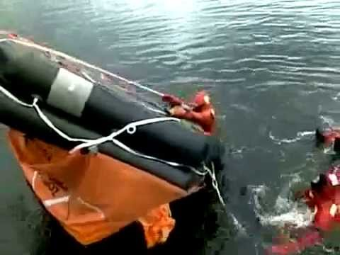 How to Turn Life Raft.  Boating Safety