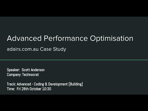 Advanced Performance Optimisation