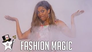 Tyra Banks Does A Quick Change! Sixto & Lucia on America's Got Talent | Magicians Got Talent