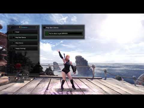 "Monster Hunter World Gestures ""Pop Star Dance"" ""Step Dance"" & ""Happy Hunting"" thumbnail"