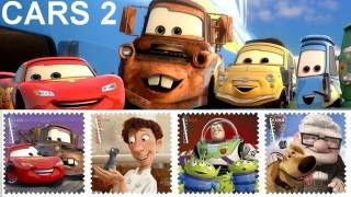 Cars 2 Pixar stamps 2011 USPS stickers, calendar, postcards, decals, passport books D23