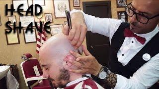 💈 Old school Barber - Head Shave with shavette - ASMR no talking