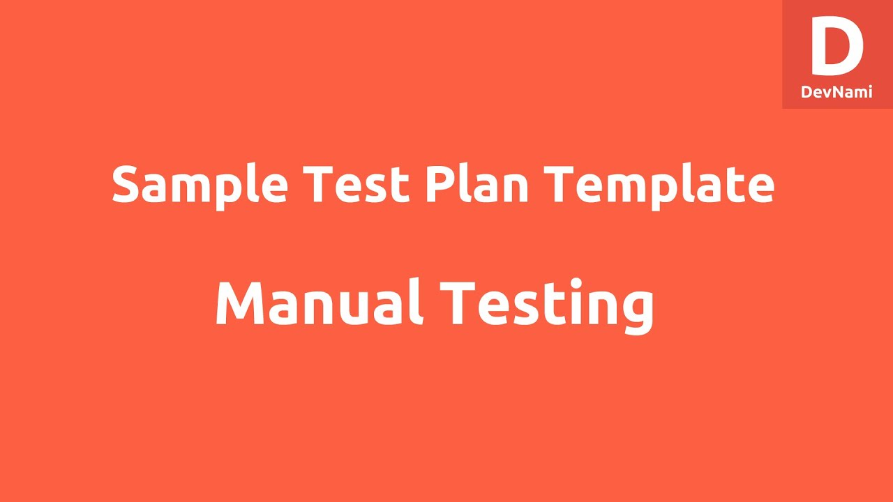 Sample Test Plan Template Excel YouTube – Example Test Plan