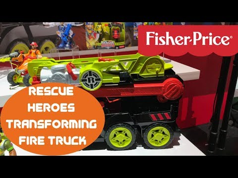 New! Fisher Price Rescue Heroes Transforming Fire Truck  - New York Toy Fair 2019