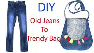 Old Jeans to Trendy Hand Bag / DIY reuse of old jeans