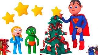 SUPERMAN SAVES THE CHRISTMAS TREE ❤ SUPERHERO PLAY DOH CARTOONS FOR KIDS