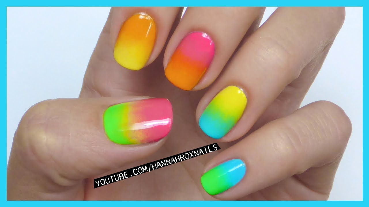 Neon Ombre Nail Art (as seen on Lily Allen!) - YouTube