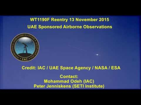 WT1190F Reentry on 13 November 2015 by UAE Camera