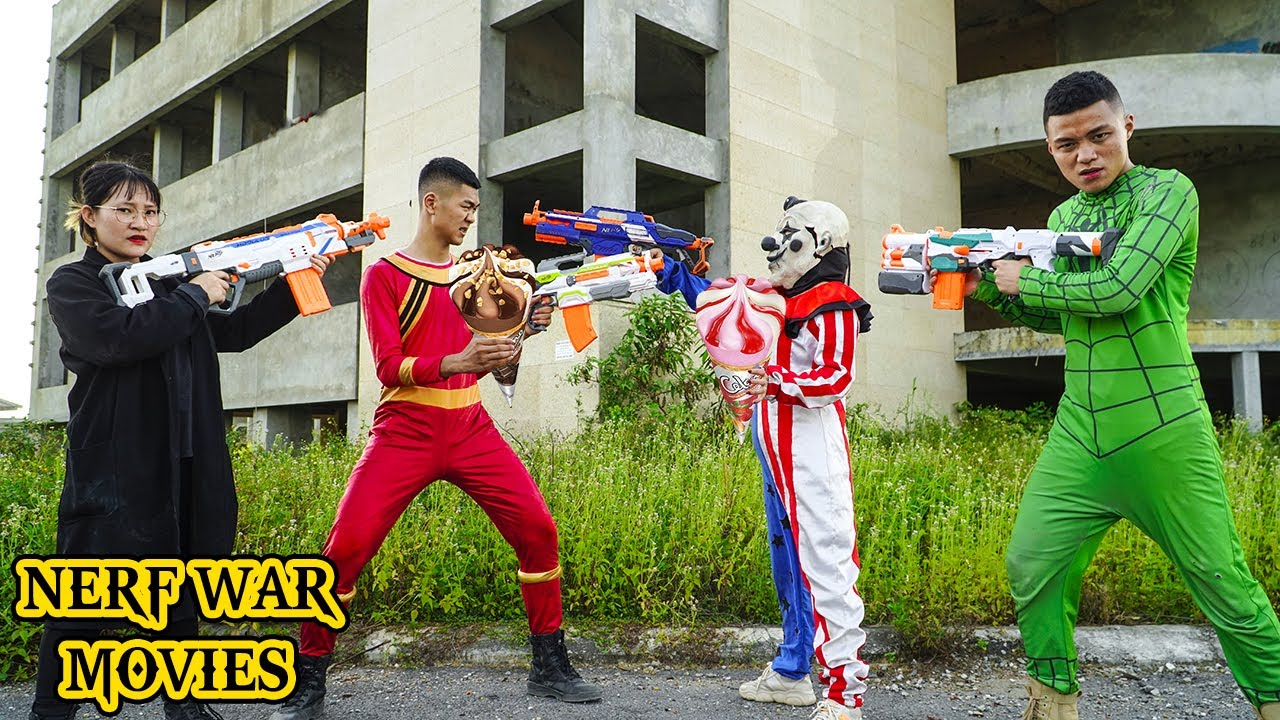 Nerf War Movies: Spider X Warriors Nerf Guns Fight Crime Group Superheores vs Robbers ICECREAMS