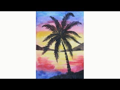 Уроки рисования. Как нарисовать  закат  и море  акварелью (пейзаж) | Art School