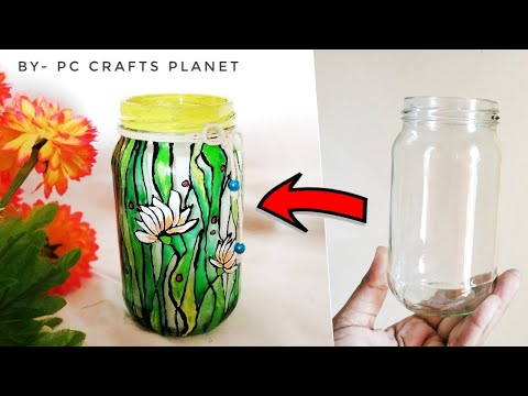 Glass jar decoration ideas| glass bottle painting ideas| glass bottle crafts| jam bottle crafts| DIY