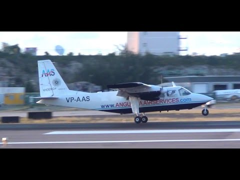 Anguilla Air Services Sunset Landing at SXM | Sint Maarten