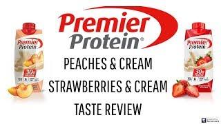 Premier Protein Shakes   Peaches & Cream Strawberries & Cream Taste Review   Crystal Evans