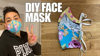 DIY FABRIC FACE MASK: PRINTABLE PATTERN IN DESCRIPTION BOX WITH MEASUREMENTS