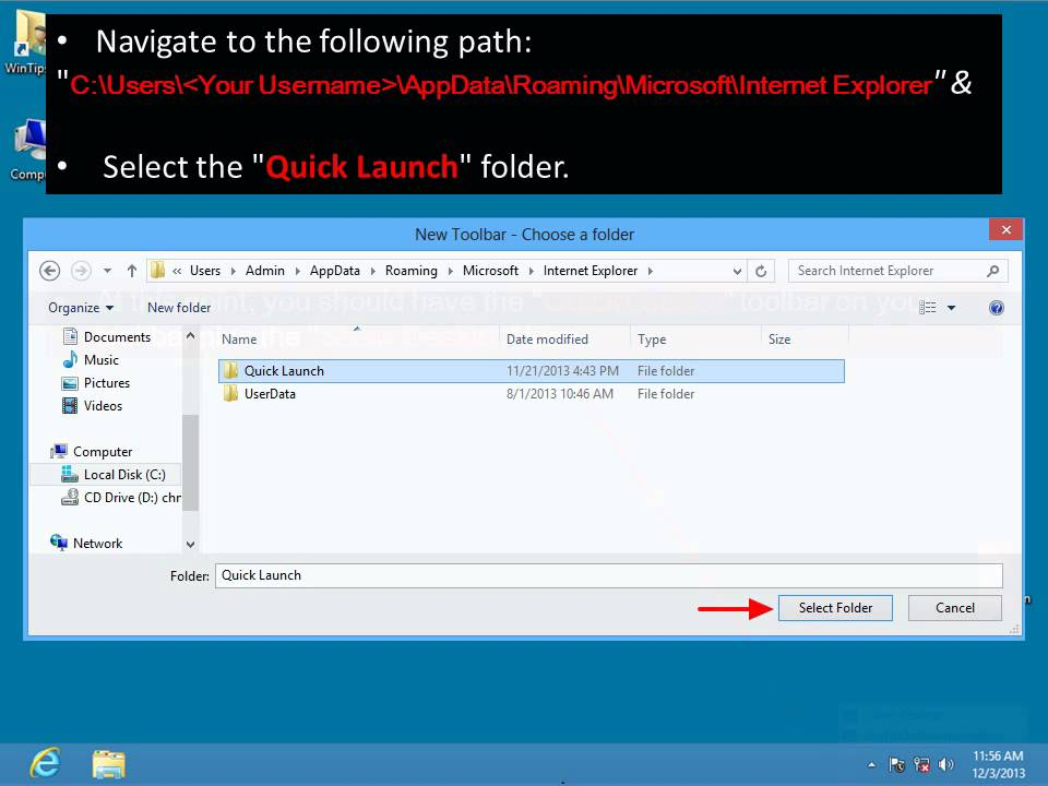 How to add Quick Launch toolbar & Show Desktop icon in Windows 8, 7 OS