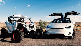 RACE!! Tesla Model X vs Can-AM Maverick X3