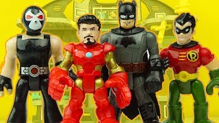 IRON MAN saves imaginext BATMAN and ROBIN from BANE who tries to steal batmobile and batcave