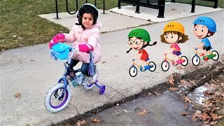 Sally learn to Ride Disney Frozen Elsa and Anna Bike!!!