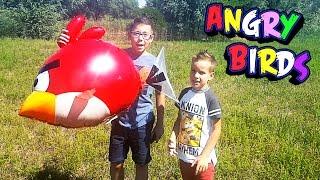 Летающий ANGRY BIRD RED Большая надувная птица. Обзор игрушки С Юрой и Ник Турбо