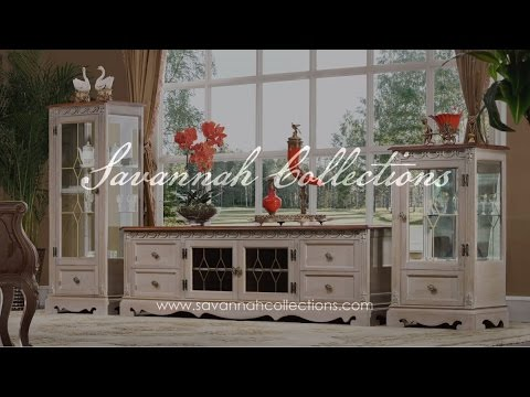 Italian Furniture TV Cabinet in Antique Almond by Savannah Collections - Hickory White