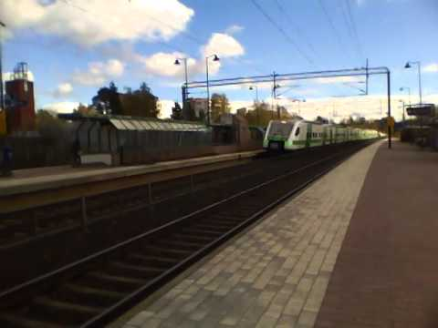 Finnish Pendolino S 89 (Sm3) passes Järvenpää station