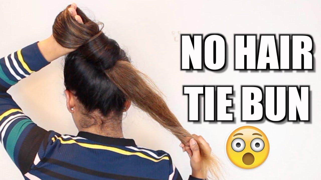 3 no hair tie buns for long hair   hair bun tutorial