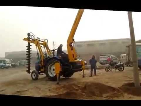 earth drilling machine with Pole erection ,fence pole planting erecting