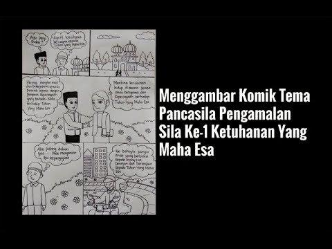 Menggambar Komik Tema Pancasila Pengamalan Sila Ke 1 Pertama Ketuhanan Yang Maha Esa Youtube