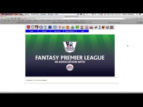 PHP Fantasy Football Website // Final Year Project - Prototype