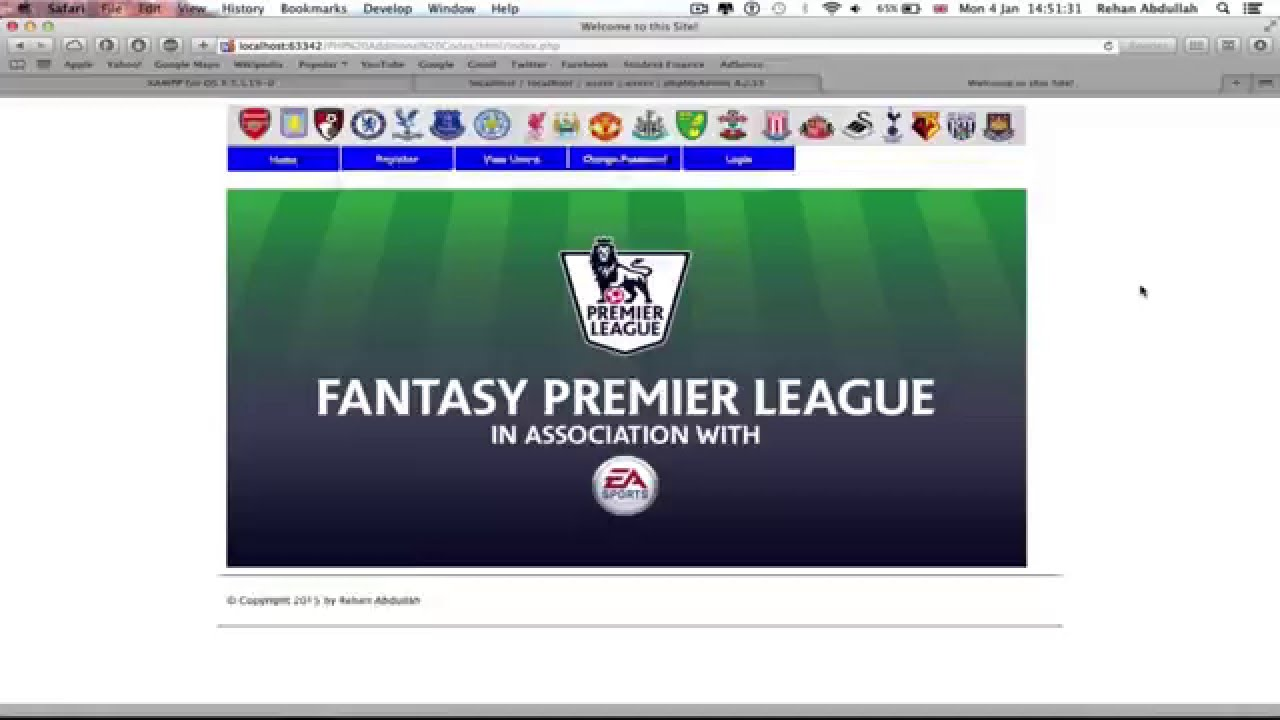 Php Fantasy Football Website Final Year Project Prototype