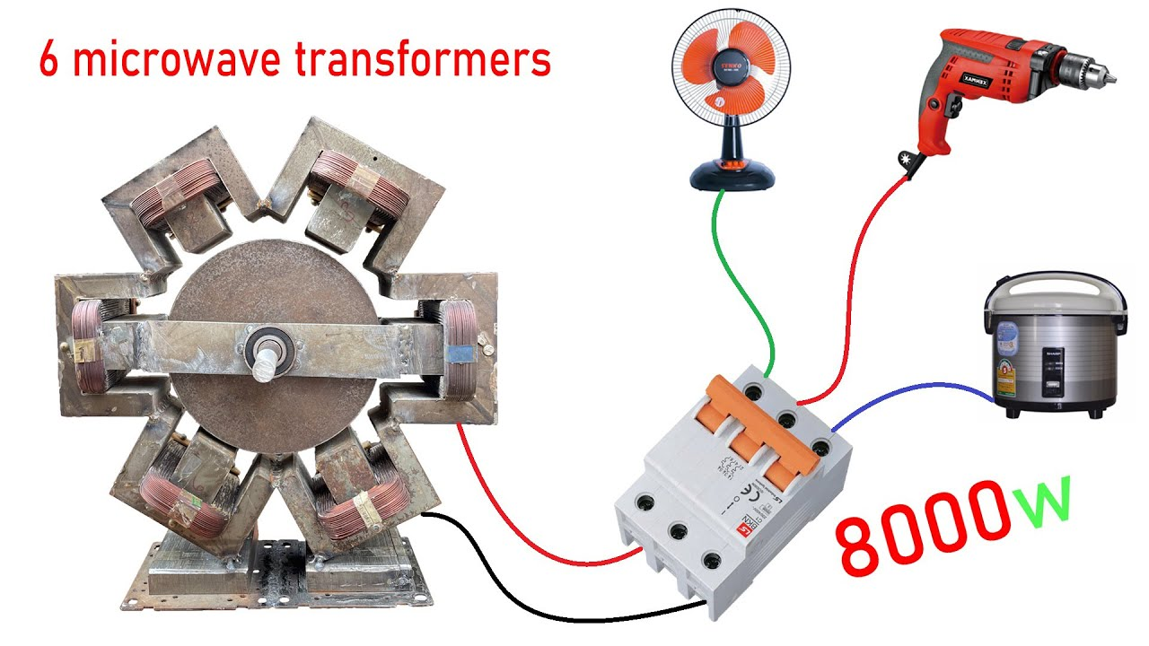 Few people know to do this ! Turn 6 Microwave Transformers into 220v electric Generator