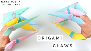 Halloween Crafts - How to Make Origami Claws - Fold Paper Claws!