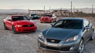 Hustlecars! 2011 Mustang V-6 vs 2010 Genesis Coupe 3.8 vs 2010 Camaro RS vs 2010 Challenger SE
