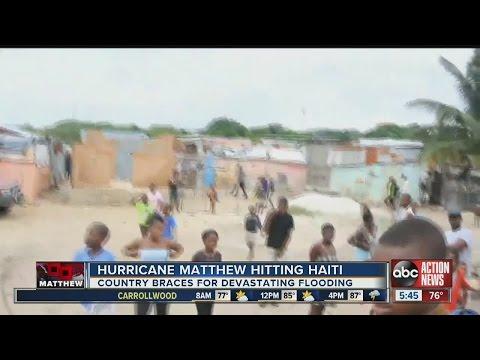 Hurricane Matthew hitting Haiti
