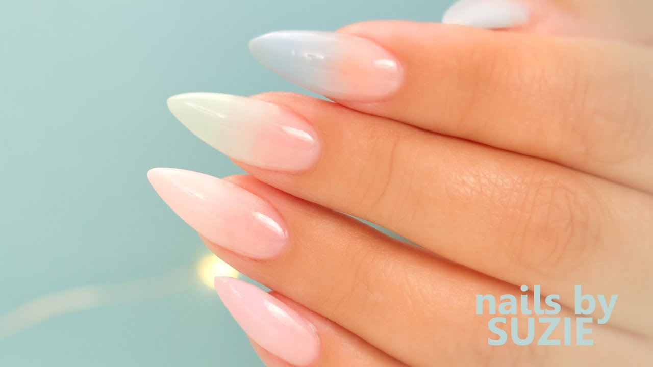 Pastel Color Fade Acrylic Nails , Step By Step Tutorial