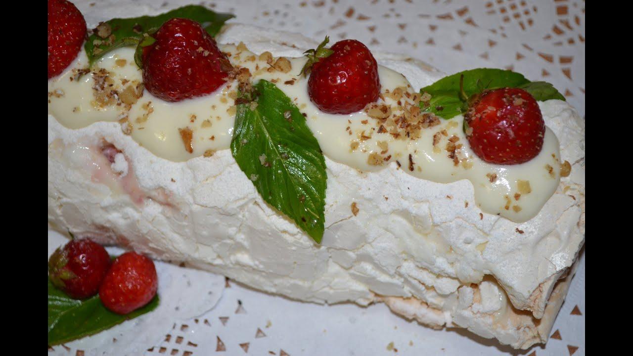 Меренговый рулет * Нежный ,легкий, воздушный десерт на любой праздник !!!