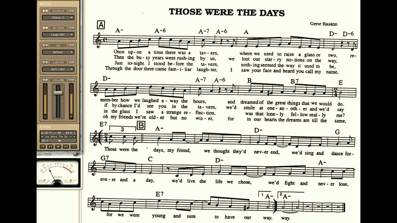 Those were the days playalong for cornet trumpet vocal or for Haute u should know lyrics