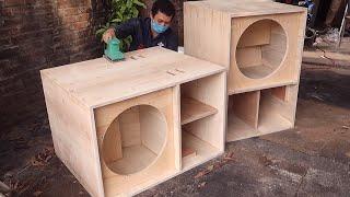 DIY handmade super subwoofer 18''  Super nice speaker cabinet design