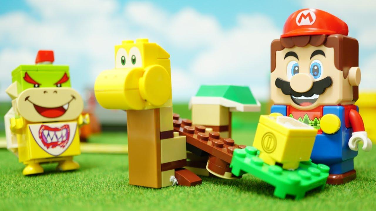 LEGO Super Mario stop motion anime 「LEGO mario discus throw & Koopa Troopa canon」 レゴマリオの円盤投げとノコノコ砲台